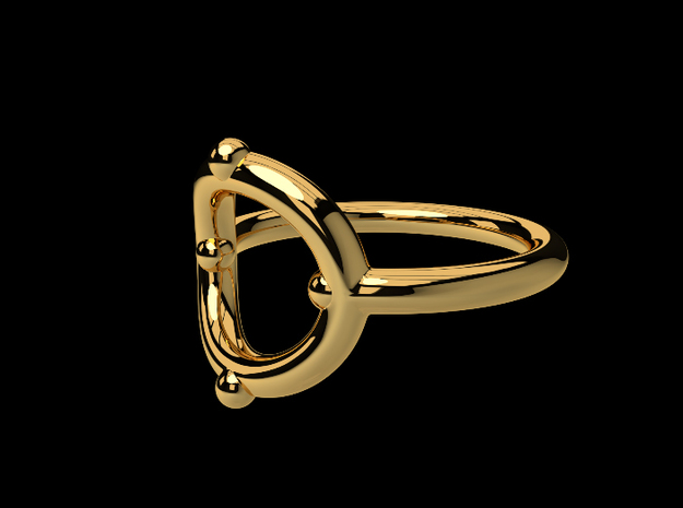 mini icon ring in Polished Gold Steel