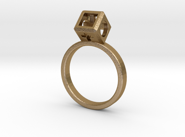 "JEWELRY Ring size 8 (18 mm) with HyperCube ""stone"" in Polished Gold Steel"