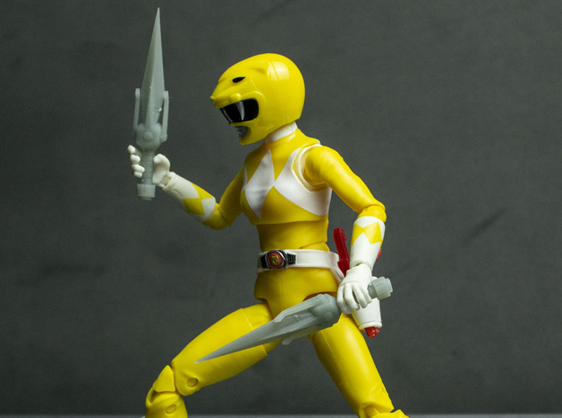 MMPR Heroes Yellow Accessory - Power Daggers in White Natural Versatile Plastic