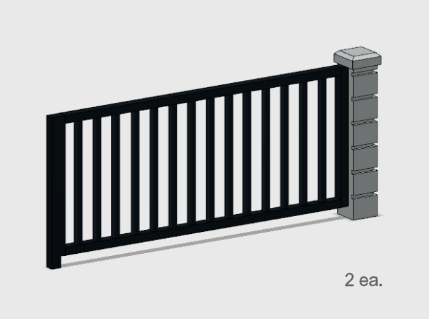 5 x 10 Rod Iron Fence Section - 2X. in Smooth Fine Detail Plastic: 1:87 - HO