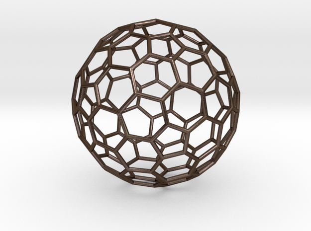 Goldberg Polyhedron[2,1] in Polished Bronze Steel