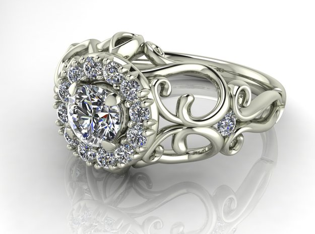 Filigree halo 2 engagement ring NO STONES SUPPLIED in Fine Detail Polished Silver