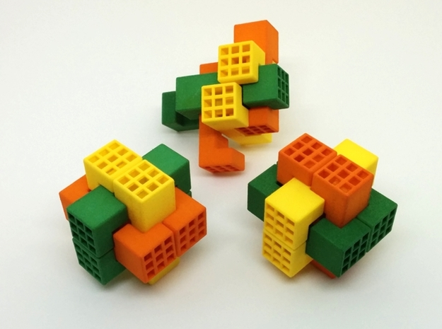 Piston Burr Puzzle 3d printed Multi-Color Set