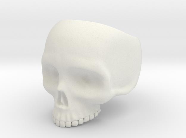 Skull Ring v2 - Size 6 in White Strong & Flexible