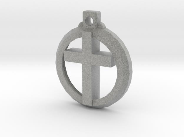 Reversible Latin Cross Pendant in Metallic Plastic