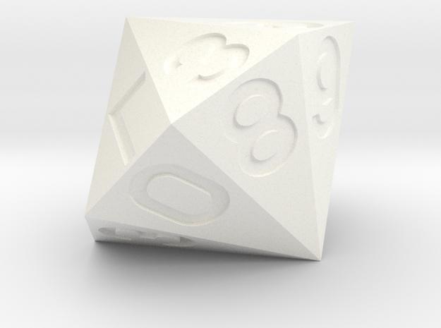 d16 Hexadecimal Argam Dice in White Processed Versatile Plastic