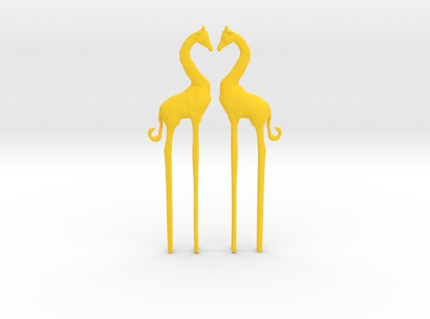 Giraffe in Love Caketopper 2X in Yellow Processed Versatile Plastic