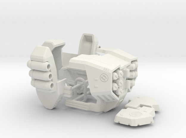 POTP SS GBP Armor - Chest/Crotc Armor and Launcher in White Natural Versatile Plastic