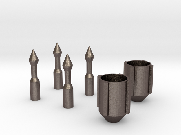 Bo Katan Guantlet Nozzle and Darts in Polished Bronzed Silver Steel