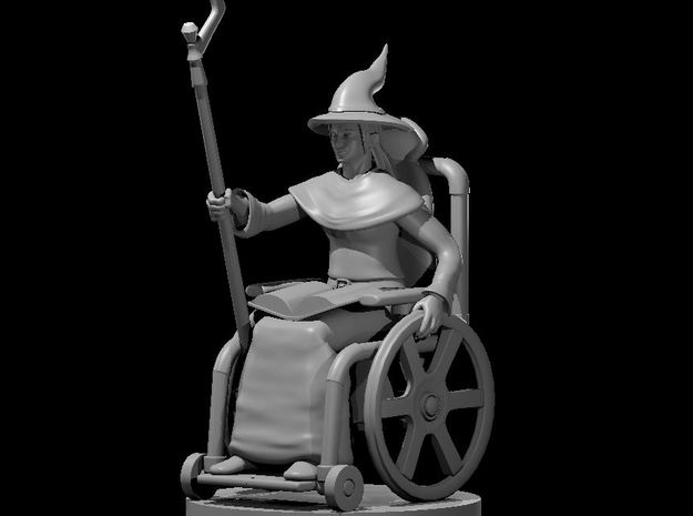 Human Female Wizard in a Wheel Chair in Smooth Fine Detail Plastic