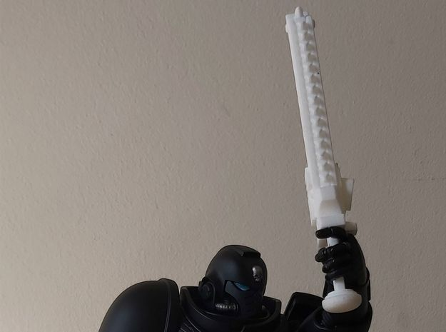 Action Figure Chainsword - Left Handed in White Natural Versatile Plastic