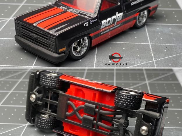'83 Silverado Frame without engine - Base Only  in Smooth Fine Detail Plastic