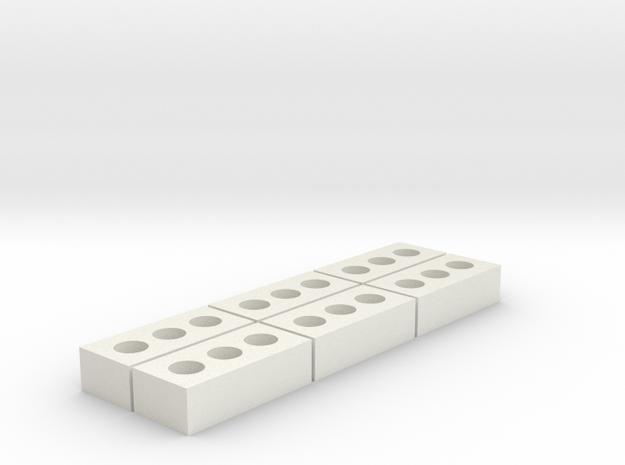 1/12 Scale Brick 6 pack in White Natural Versatile Plastic