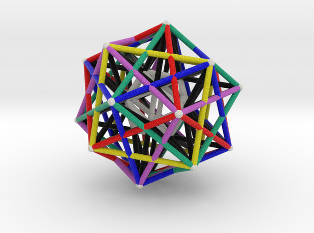 Dodecahedron Starcage with Inner Icosahedron 75mm in Natural Full Color Sandstone