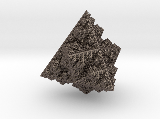 Fractal  Ornament 'Sierpinski pyramid' in Polished Bronzed-Silver Steel