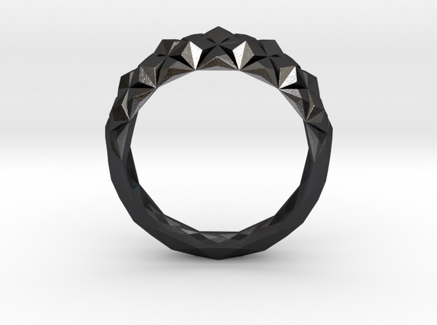 AnilloCristalGeometricoUS9-2 in Polished and Bronzed Black Steel