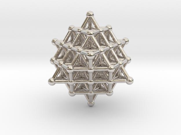 64 sidedTetrahedrannosaurus hex atom array in Rhodium Plated Brass