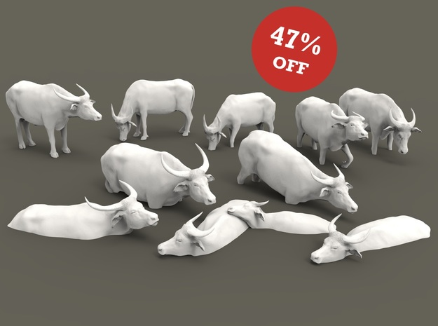 Domestic Asian Water Buffalo Set 1:87 ten pieces in Smooth Fine Detail Plastic