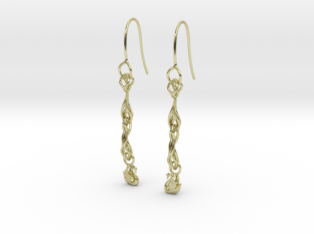Long  Swan filigree earring in 18k Gold Plated Brass