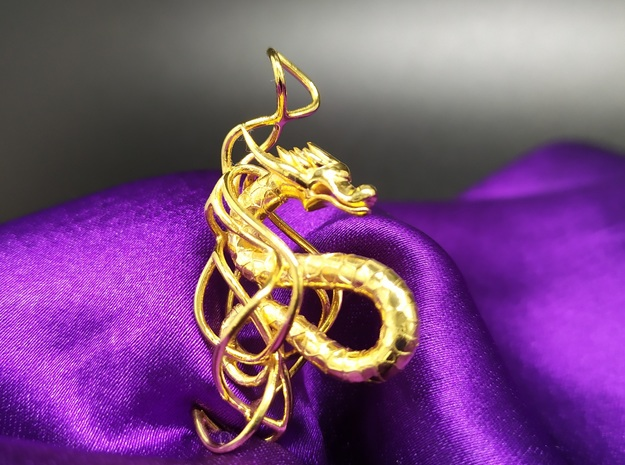 Large Dragon Pendant in Rhodium Plated Brass