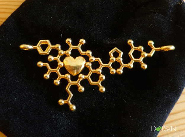 Oxytocin Molecule Love Heart Pendant 3D Printed in Polished Brass