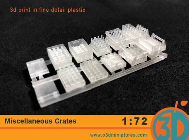 Miscellaneous Crates 1/72 scale in Smooth Fine Detail Plastic