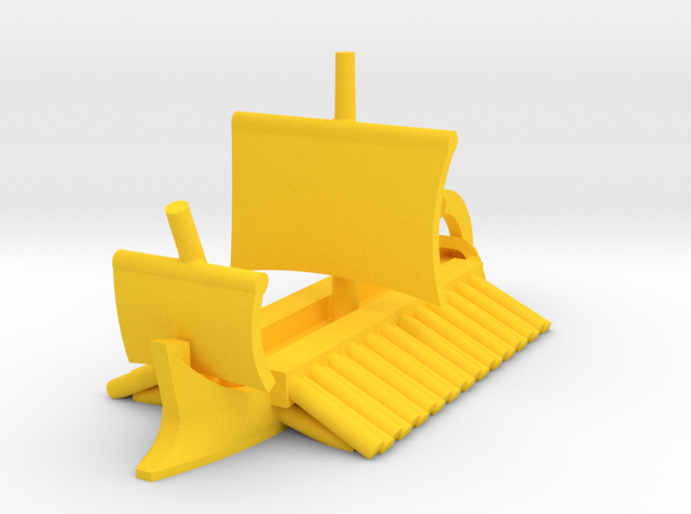Classical Egyptian Trireme Sailing Game Pieces in Yellow Processed Versatile Plastic: Extra Small