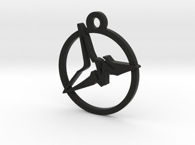 Origami Crane Charm Necklace n9 in Black Natural Versatile Plastic