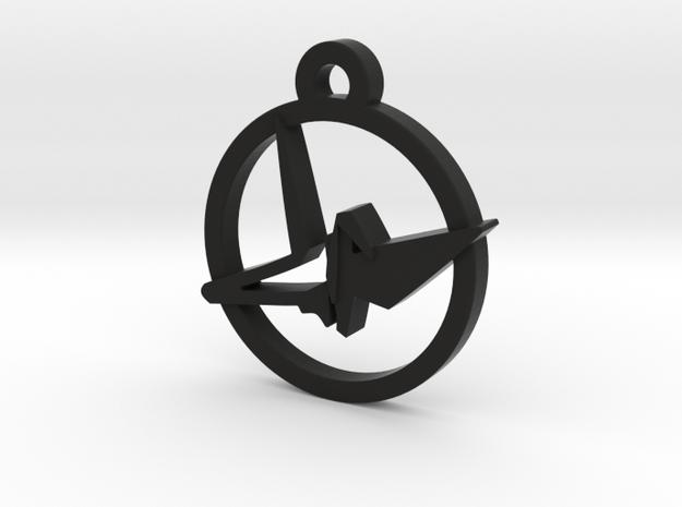 Origami Crane Charm Necklace n15 in Black Natural Versatile Plastic