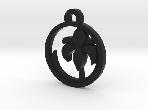 Iris Charm Necklace n64 in Black Natural Versatile Plastic