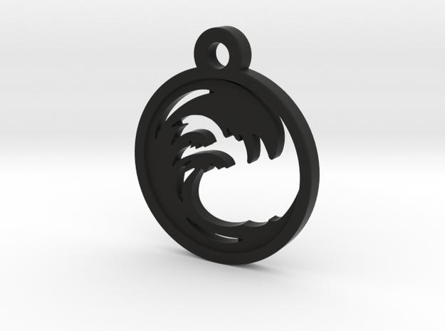 Wave Charm Necklace n68 in Black Natural Versatile Plastic