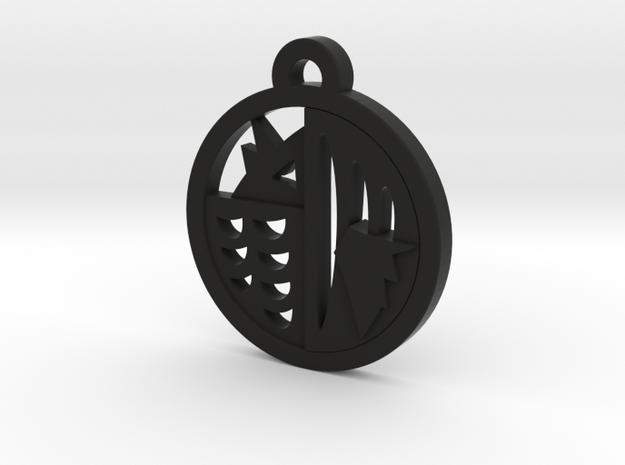 Japanese Amabie Charm Necklace n54 in Black Natural Versatile Plastic