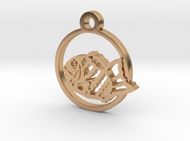 Taiyaki (Fish‐Shaped Pancake) Charm Necklace n14 in Polished Bronze