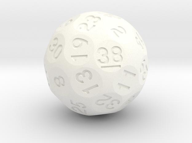 d38 Sphere Dice in White Processed Versatile Plastic