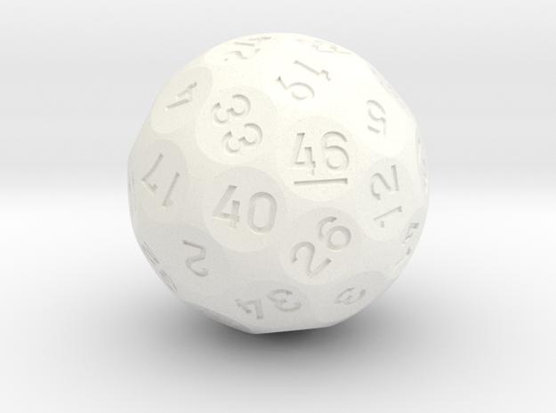 d46 Sphere Dice in White Processed Versatile Plastic
