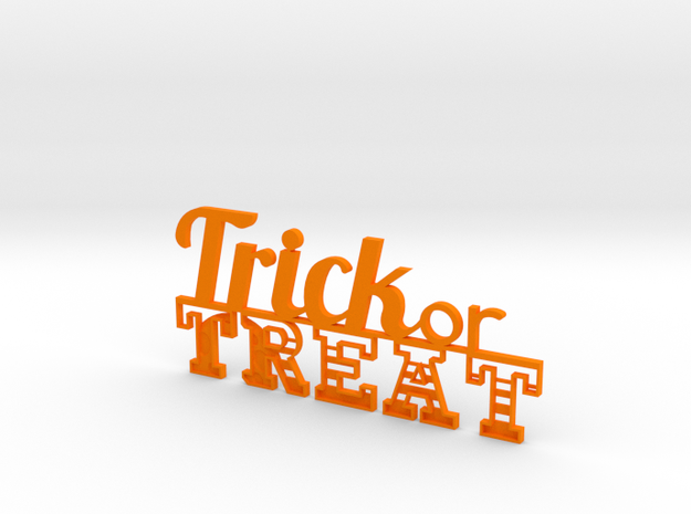 Trick or Treat Sign in Orange Processed Versatile Plastic