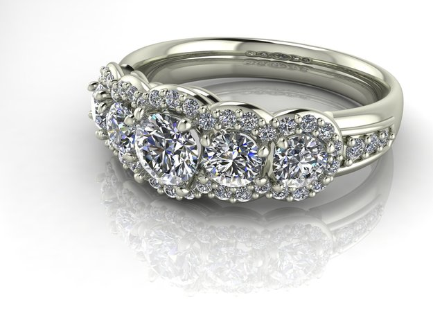 Multi stone engagement ring, NO STONES SUPPLIED in Fine Detail Polished Silver