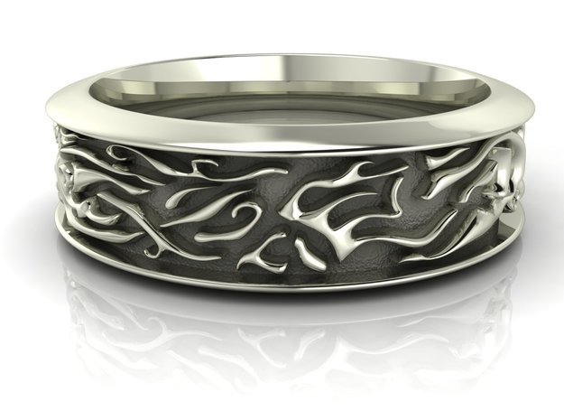 Ocean waves gents' band in Fine Detail Polished Silver
