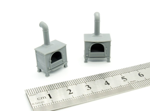 Stove Vintage 01. 1:56 Scale (28mm) in Smooth Fine Detail Plastic
