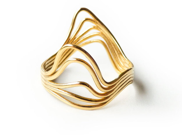 Timeline Ring - Wire Wave Ring - 19mm - US 9.125 in 18k Gold Plated Brass