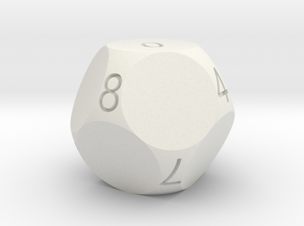 D10 4-fold Sphere Dice 3d printed In Winter Green Strong and Flexible (the colors on the numbers were manually added)