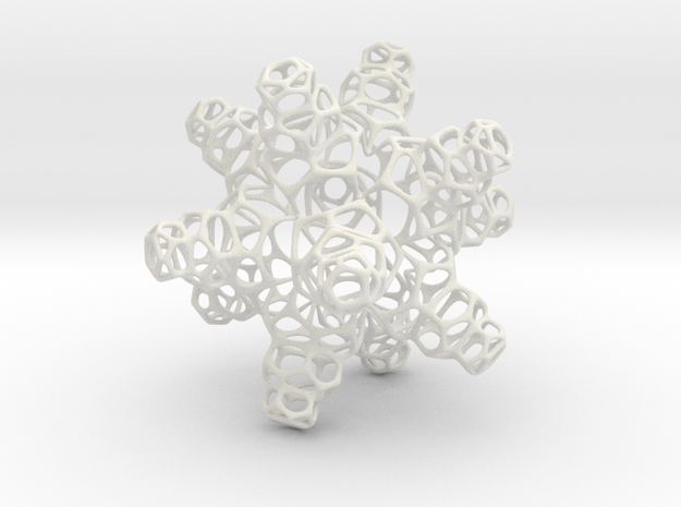 3D Snowflake in White Natural Versatile Plastic