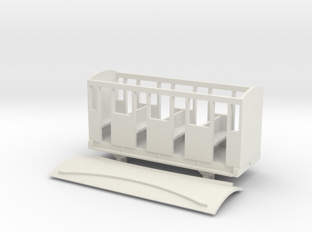 OO9 Skarloey / Talyllyn NG Open Coach TYPE 2 in White Natural Versatile Plastic