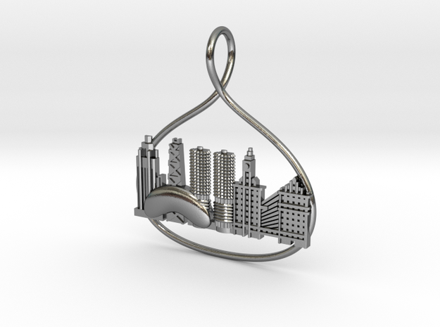 Chicago Cityscape Skyline Pendant in Polished Silver