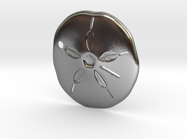 Sand Dollar Pendant in Polished Silver