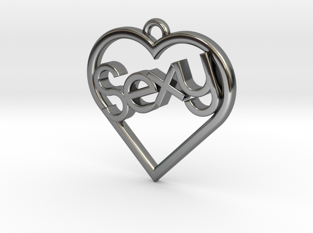 """Heart """"Sexy"""" in Fine Detail Polished Silver"""