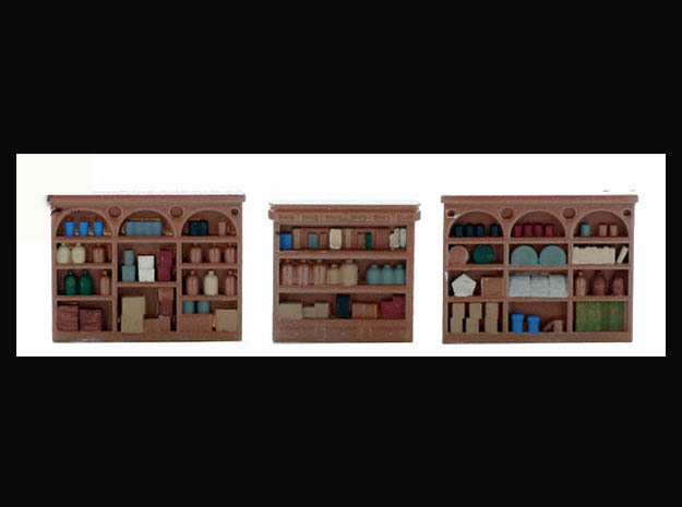 HO Scale INTERIOR Shelving Set Super Detailed in Smooth Fine Detail Plastic