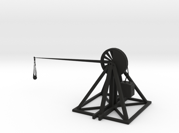 Leonardo Da Vinci Trebuchet in Black Natural Versatile Plastic
