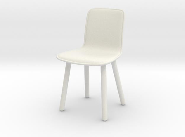 Miniature HAL Leather Wood Chair - Jasper Morrison in White Natural Versatile Plastic: 1:12