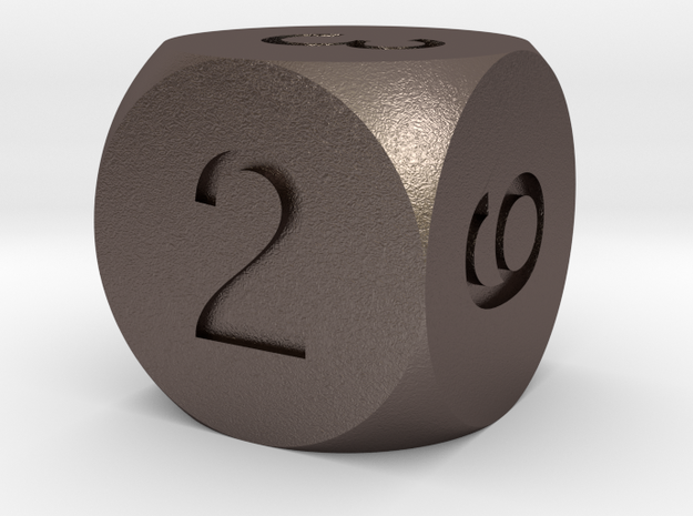 D6 Sphere Dice in Polished Bronzed Silver Steel